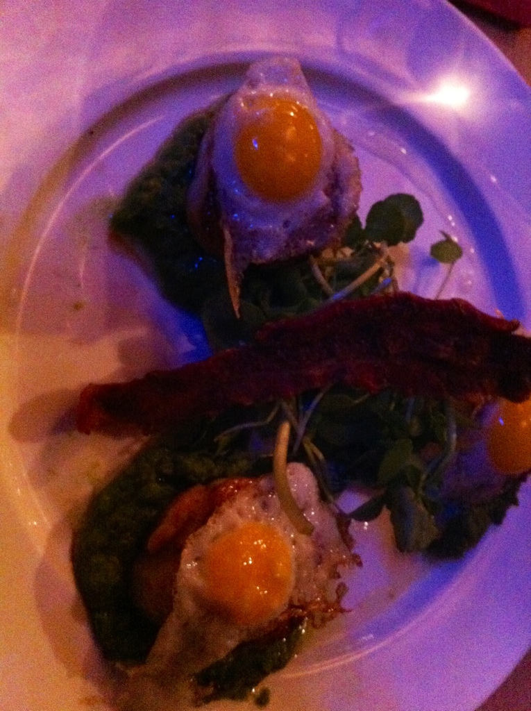 Scallops and quails eggs, Tzigano's