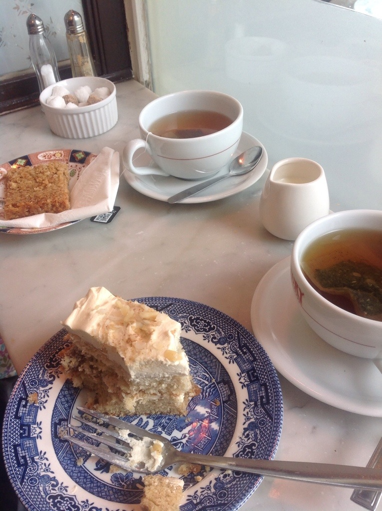 walnut cake, flapjack and two teas